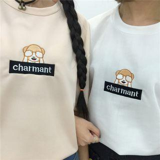 Print Embroidery Lettering Short-sleeve Top