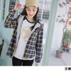 Mock Two Piece Hooded Panel Plaid Jacket