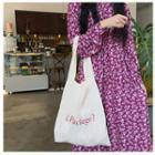 Lettering Canvas Tote Bag Red Lettering - White - One Size