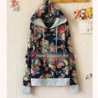 Hooded Floral Pullover