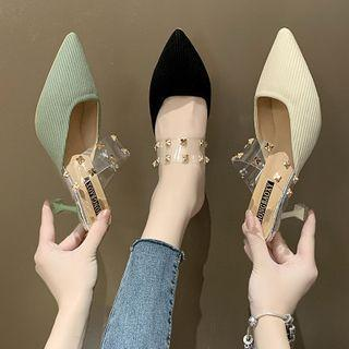Pointed Studded Flared Heel Mules