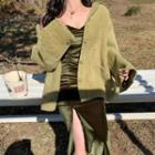 Furry Buttoned Jacket/ Strappy Front-slit Midi Dress