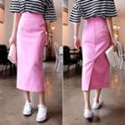 Colored Long Pencil Skirt