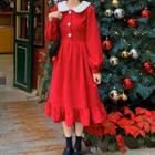 Puff-sleeve Fluffy Collar Midi A-line Dress Red - One Size