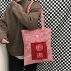 Applique Check Shopper Bag