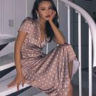Polka-dot Satin Midi Dress