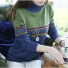 Color-block Turtleneck Knit Top
