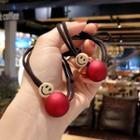 Smiley Face Hair Tie Red - One Size