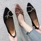 Buckled Fabric Pointed Flats