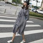 Long Sleeve Gingham Shirtdress As Shown In Figure - One Size