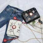 Embroidered Faux-leather Chain-strap Shoulder Bag