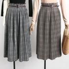 Plaid Midi Pleated Skirt