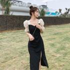 Puff-sleeve Side-split Dress