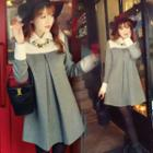 Panel Pleated Long-sleeve Collared Dress