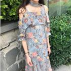 Floral Print Off Shoulder Elbow Sleeve Chiffon Midi Dress