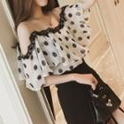 Dotted Cold-shoulder Chiffon Top