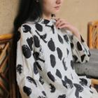Long-sleeve  Frog-buttoned Dotted Top Black Dot - White - One Size
