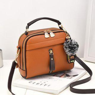 Top Handle Pom Pom Crossbody Bag