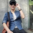 Mandarin-collar Denim Shirt