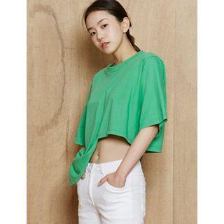 Short-sleeve Asymmetric-hem T-shirt