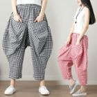 Checked Cropped Baggy Pants