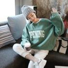 Distressed Lettering-patch Oversized Sweatshirt