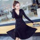 Long-sleeve Lace Trim Accordion-pleat A-line Midi Dress