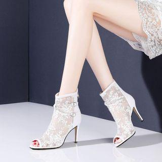 High-heel Lace Ankle Boots