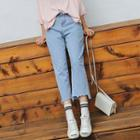 Distressed Cropped Straight-leg Jeans