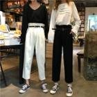 Cropped Straight-fit Pants With Belt
