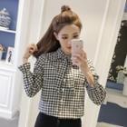 Long-sleeve Plaid Tie-neck Shirt