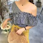 Gingham Frilled Short-sleeve Top