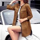 3/4-sleeve Zipped Coat