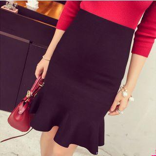 Ruffled Knit Pencil Skirt