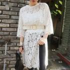 3/4-sleeve Slit-side Lace Dress