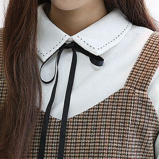 Detachable-ribbon Corduroy Shirt