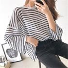 Long-sleeve Stripe Sheer Knit Top