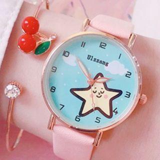 Star Print Strap Watch