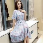 Floral Tie-waist Midi Chiffon Dress