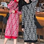 Long-sleeve Pattern Knit Midi Dress