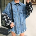 Plaid Panel Denim Jacket Blue - One Size