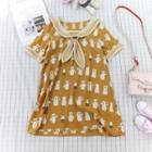 Bear Print Short Sleeve Sailor Collar Dress