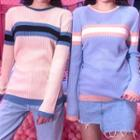 Color-block Lightweight Ribbed Knit Top