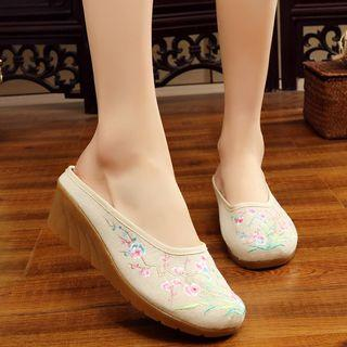 Flower Embroidered Wedge Mules