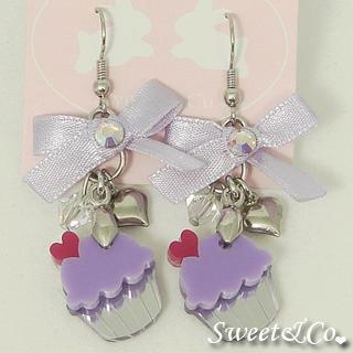 Ribbon Purple Cupcake Crystal Silver Earrings