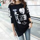 Sequined Print Long-sleeve Top