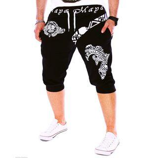 Printed Drop-crotch Cropped Sweatpants