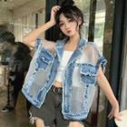 Mesh Panel Short-sleeve Denim Button Jacket As Shown In Figure - One Size