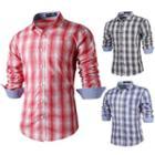 Long-sleeved Gingham Slim Shirt