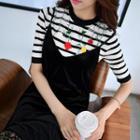 Applique Striped Knit Top